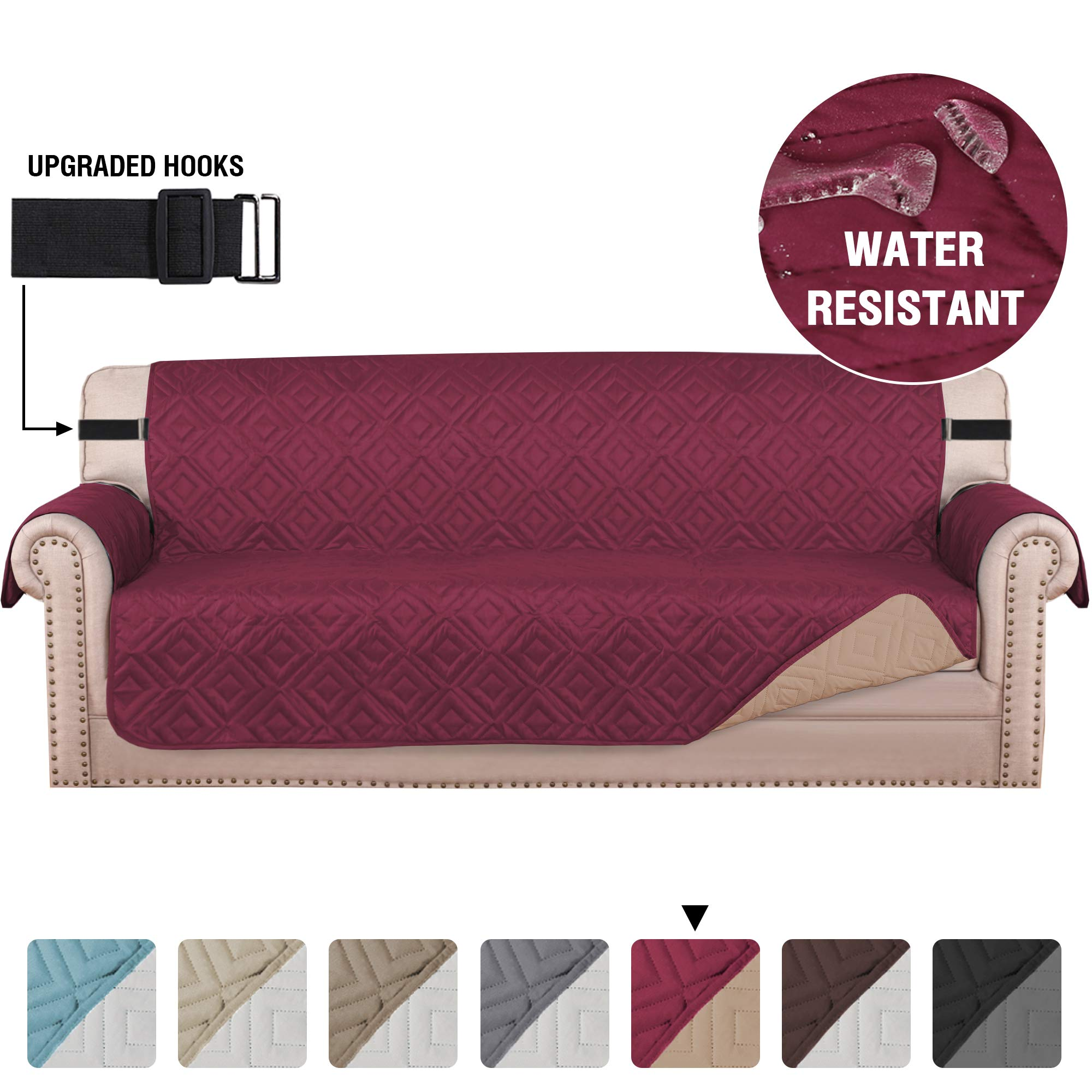 "Quilted Sofa Cover Protector Couch Cover Water Repellent Sofa Slipcover for Pets Dogs Furniture Protector Cover for 3 Cushion Couch, Non-Slip (Extra Wide Sofa 78"", Reversible Burgundy/Beige)"