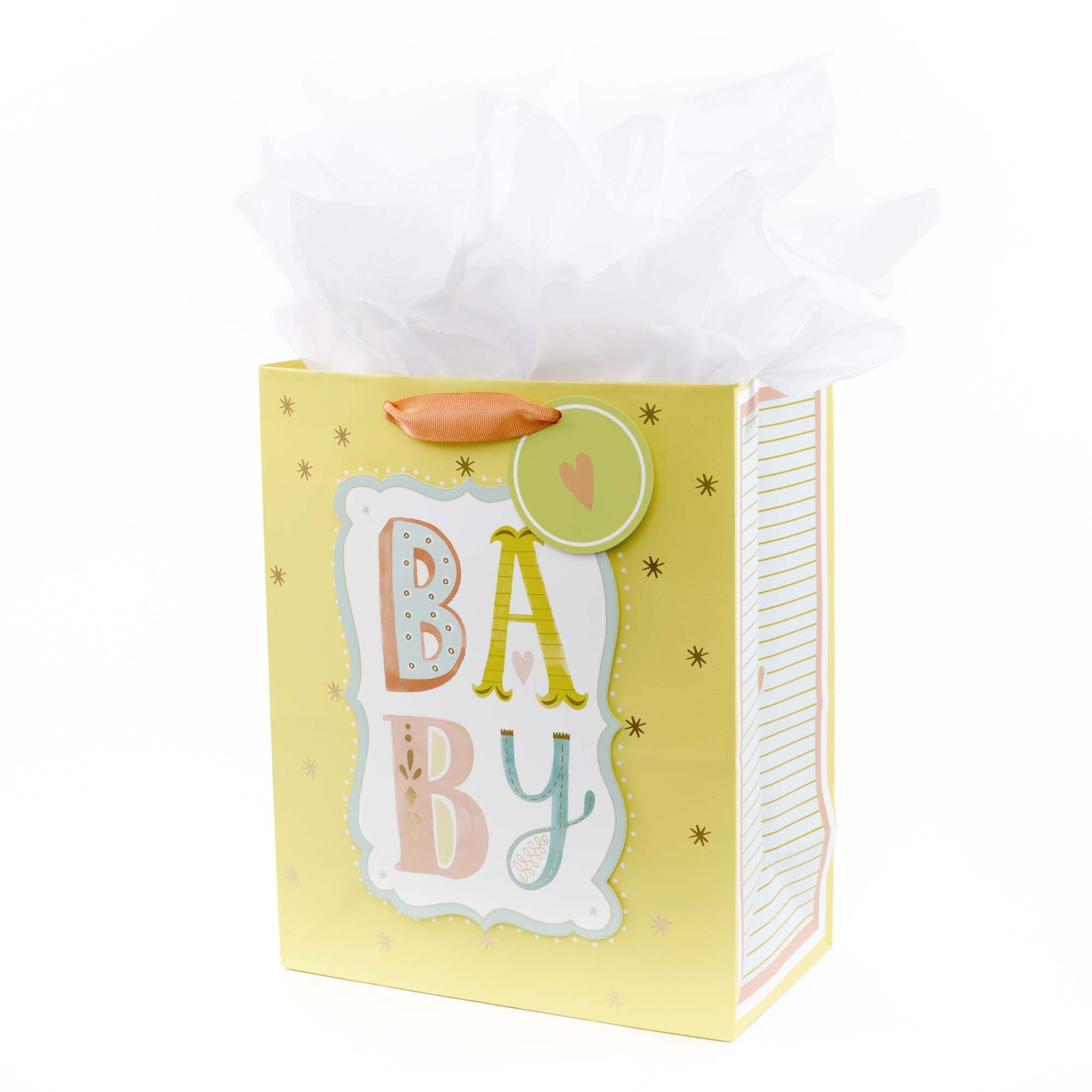 """Hallmark 13"""" Large Gift Bag with Tissue Paper (B-A-B-Y, Yellow) for Baby Showers, New Parents and More"""