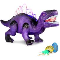 AOKESI Led Walking Dinosaur Toys with Roar Electronic Dino Toy & Lights Up Tyrannosaurus Toy Gift for Boys & Girls 3 4 5 6 7 Year Old Batteries Included&2 Extra Dinosaur Eggs