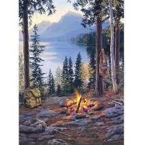 5D Diamond Painting Lake Forest Torch Full Drill by Number Kits, SKRYUIE DIY Rhinestone Pasted Paint with Diamond Set Arts Craft Decorations (12x16inch)