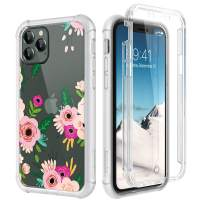 "SURITCH Clear Case for iPhone 11 Pro, [Built-in Screen Protector] Shockproof Hybrid Full Body Rugged Bumper Transparent with Floral Pattern Protective Case for iPhone 11 Pro 5.8"" (Begonia Flower)"