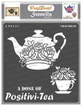 CrafTreat Teapot Stencils for Painting on Wood, Canvas, Paper, Fabric, Floor, Wall and Tile - A Dose of Positivi-Tea - 12x12 Inches - Reusable DIY Art and Craft Stencils - Kitchen Decor Stencils