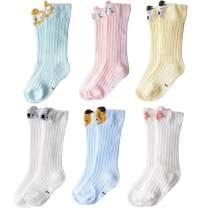 vanberfia 6 Pack Baby Girl Knee-High Socks Toddlers Breathable Mesh Dance Sock Summer Socks 0-3T