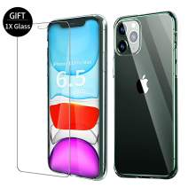VATI Compatible with iPhone 11 Pro Max Case with 1X Screen Protector iPhone 11 Pro Max, Tempered Glass Back Soft TPU Bumper Edge, Clear iPhone 11 Pro Max Cases Cover for iPhone 11 Pro Max 6.5 inch