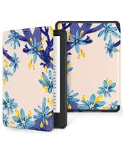 GVIEWIN Case for All-New Kindle 10th Generation 2019 Release Only, Flowers Leather PC Hard Shell Protective Cover Auto Wake/Sleep, (Not Fit Kindle Paperwhite 10th Gen 2018), (White/Blue)