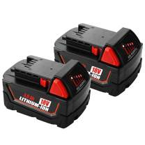 2-Pack 18V 3.0Ah Battery for Milwaukee 18volt Lithium Battery 48-11-1820 48-11-1840 48-11-1850 48-11-1828 48-11-1815 Cordless Power Tools