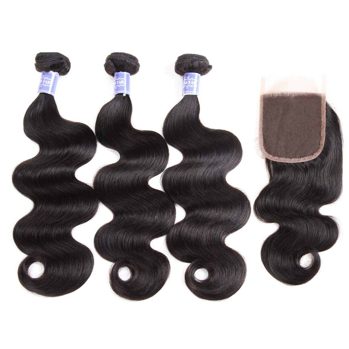 Sayas Hair 10A Grade Brazilian Body Wave Human Hair Bundles Weave Hair Human Bundles Brazilian Virgin Hair For African Americans Women Each Bundle 100g With 40g 4x4 Free Part Closure(20 22 24+20inch)