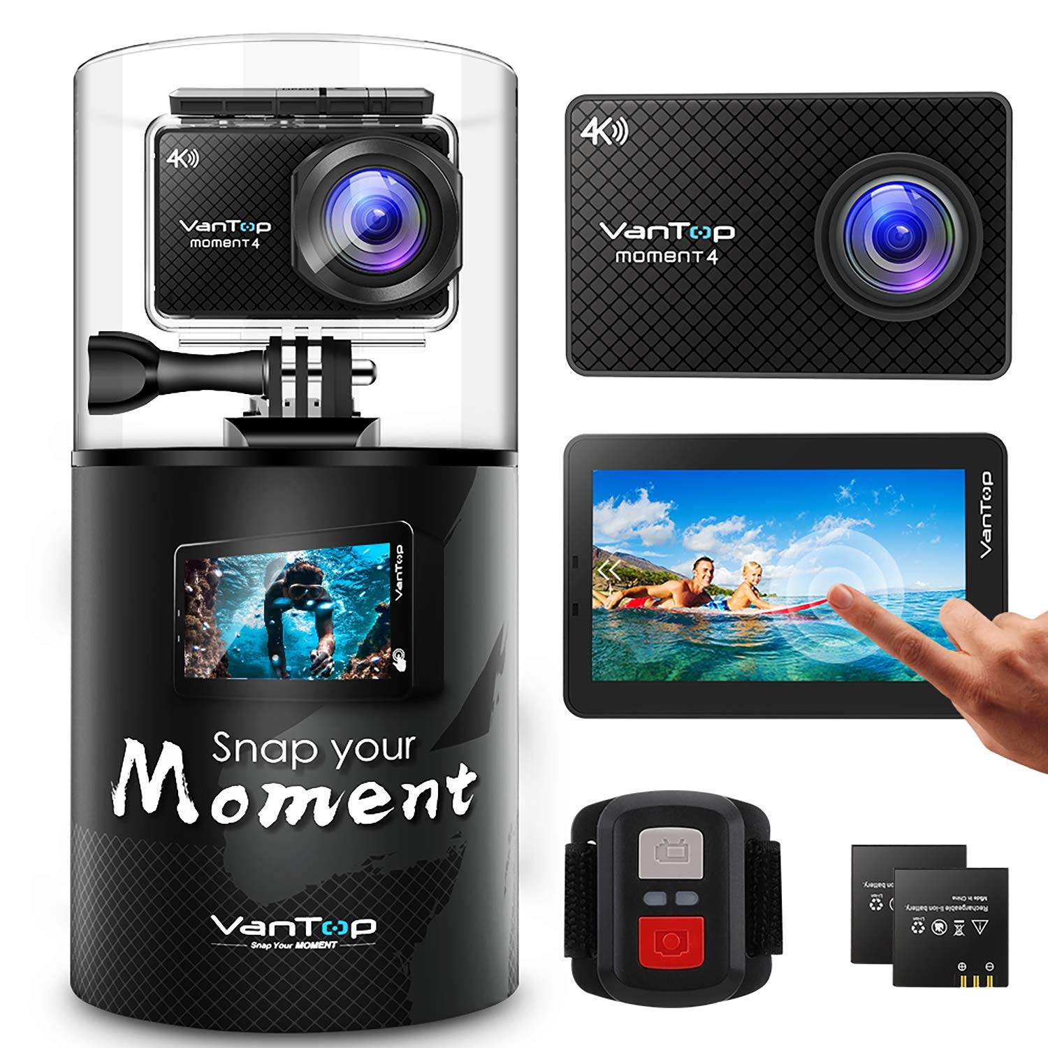 VanTop 4K Action Camera 20MP Moment 4 Underwater Waterproof Camera with EIS, Touch Screen, Remote, 170° Wide Angle WiFi Sports Cam with 2 Batteries and GoPro Accessories Kit