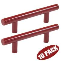 Probrico Cabinet Pulls Red Drawer Handles 3 Inch (76mm) Hole Centers Modern Kitchen Cupboard T Bar Hardware Stainless Steel, 10 Pack