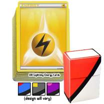 100 Basic Lightning Energy Pokemon Cards with A Totem World Deck Box - Yellow Type - Set Varies from XY to Sun and Moon Series