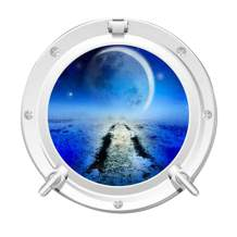 MySticky 3D Round Porthole Crescent Moon Design Wall Decals | Removable Vinyl Sticker | Peel and Stick | Art Decor for Bedroom, Living-Room, Kids or Any Room, Small