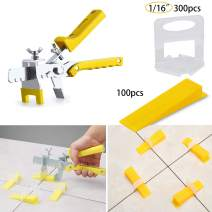 Tile Leveling System Tiles Leveler Spacers - Lippage free tile and stone installation for PRO and DIY - 300 Piece Leveling Spacer Clips 100-Piece Reusable Wedges and 1 Installation Pliers (1/16 Inch)