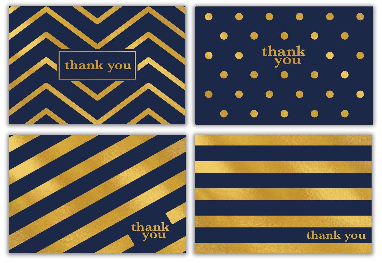 Gold Foil Thank You Cards Bulk 48 Thank You Notes w/Stickers & White Envelopes – 4x6 Blank Note Cards – Perfect for Weddings, Bridal Showers, Graduation, and Baby Showers