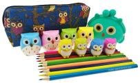 Cute Cartoon Owl Theme Set 5 Kinds of Stationery Include 1 Change Purse 1 Pencil Bag 4 Pencil Sharpener 4 Eraser 10 Colored Pencils for Kids Painting Birthday Christmas Gift