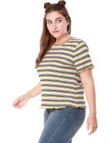 Agnes Orinda Women's Plus Size Short Sleeve Stretch Striped Summer T-Shirt