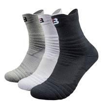 Mens Athletic Crew Socks for Basketball Cotton Sports Compression Socks Cushion Quarter Ankle Sock