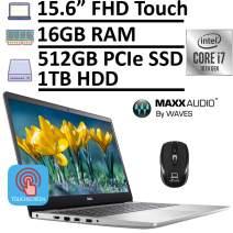 "2020 Latest Dell Inspiron 15 5000 5593 Laptop, 15.6"" FHD 1080p Touchscreen, 10th Gen Intel Core i7-10510U 16GB RAM 512GB PCIe SSD + 1TB HDD, MaxxAudio Pro Backlit KB Win 10 + ePark Wireless Mouse"