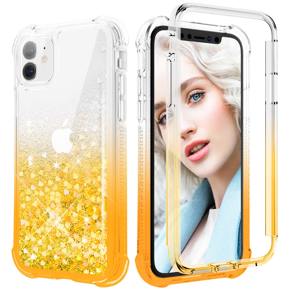 Maxdara for iPhone 11 Glitter Case, iPhone 11 Full-Body Case with Built-in Screen Protector BlingLiquid Rugged Shockproof Protective Case Cover for iPhone 11 6.1 inches (Gradient Gold)