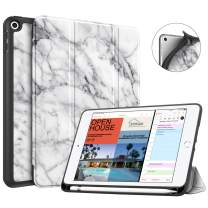 Fintie Case with Pencil Holder for iPad Mini 5 2019 - [SlimShell] Lightweight Soft TPU Back Protective Smart Stand Cover with Auto Wake/Sleep for New iPad Mini 5th Gen 2019, Marble White