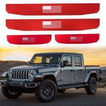 Adust Door Sill Guards Kit Compatible with 2018-2020 Jeep Gladiator JT/Jeep Wrangler JL 4 Doors Accessories Parts, Door Entry Guard Kit,Aluminum Alloy,Plate Cover with Flag Pattern (RED,4 pcs)