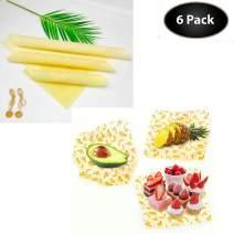 Eco Friendly Reusable Beeswax Food Wrap,6 Pack Set Reusable Plastic Wrap Alternative (6)