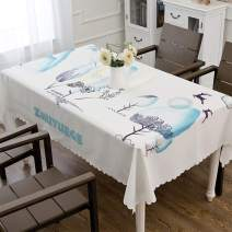 """Hewaba Rectangle Printed Luxury Tablecloth - 60""""x 104"""" Polyester Washable Table Cover, Wrinkle Free, Oil-Proof/Waterproof Tabletop Protector for Kitchen Dining Party - Lucky Deer Pattern"""
