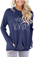 Womens Crewneck Sweatshirt Casual Cute Long Sleeve Loose Fitting Fall Tops T Shirt with Pockets