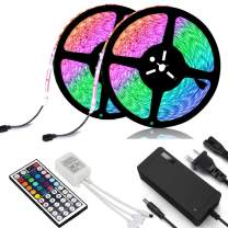 NEW 2020 LED Strip Lights Kit Waterproof – TWO 16.4ft 600 LEDs SMD 3528 RGB Light with 44 Key Remote Controller, Extra Adhesive Tape, Flexible Changing Multi-Color Lighting Strips for TV, Room