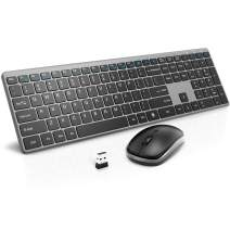 Wireless Keyboard and Mouse Combo, RATEL 2.4GHz Ultra-Thin Full Sized Wireless Keyboard and Silent Click Wireless Mouse with USB Receiver for Computer, Desktop, PC, Notebook, Laptop (Grey)