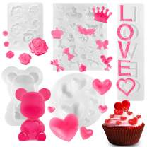 Whaline 5Pcs Silicone Candy Chocolate Moulds Bear Heart Love Rose Flower Bow Mold Fondant Cake Decoration Cupcake Topper Mold for Soap Wax Making Valentine's Day Anniversary Wedding Birthday