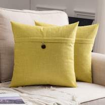 MIULEE Set of 2 Decorative Linen Throw Pillow Covers Cushion Case Button Vintage Farmhouse Pillowcase for Couch Sofa Bed 24 x 24 Inch Chartreuse