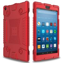 Elegant Choise Case for Fire 8 2017/2018 Tablet Case, Soft Silicone Kid Friendly Light Weight Shockproof Protective Case Cover for All-New Amazon Kindle Fire HD 8 7th and 8th Generation Tablets(Red)