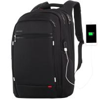 Large Laptop Backpack for Men,Water Resistant Polyester Backpack with USB Charging Port,Large Bookbag College Backpack Travel bag Black Business Backpack fit All 15.6 17.3 Most 18 in laptops by Outjoy