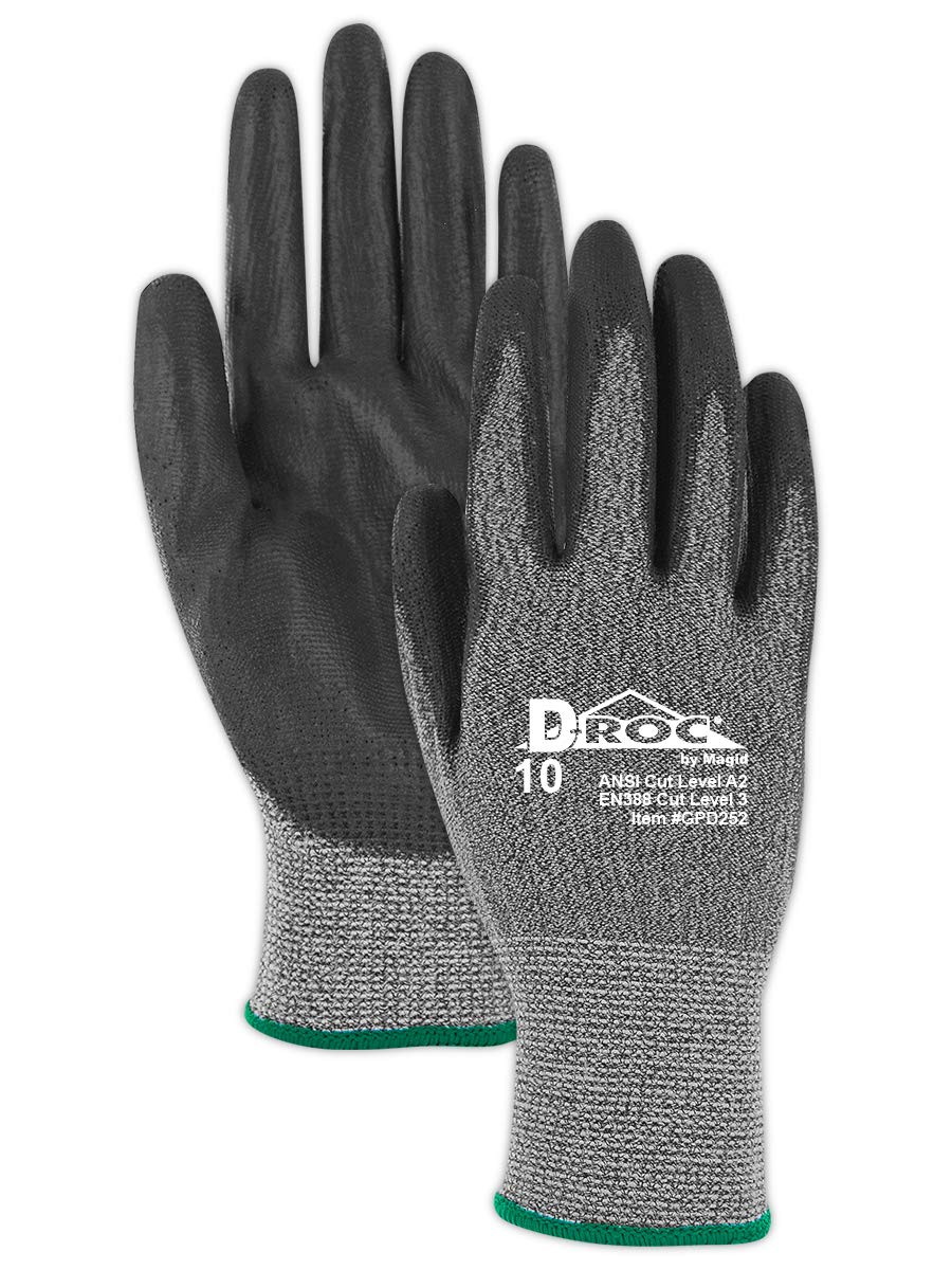 Magid Glove & Safety GPD252-9 Magid D-ROC HPPE Blended Polyurethane Palm Coated Work Gloves Cut Level A2 - Size 9