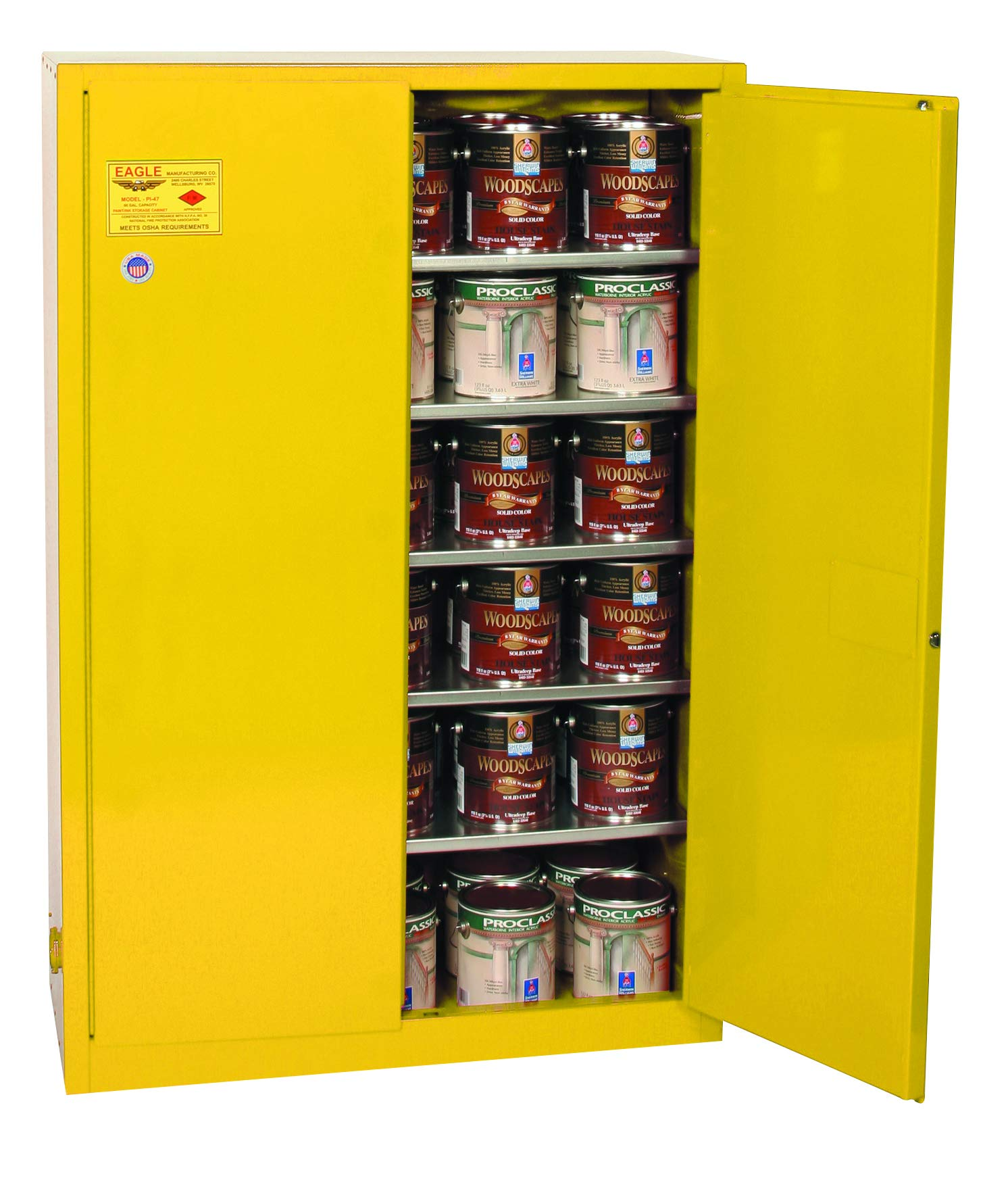 """Eagle YPI47X Safety Cabinet for Paint & Ink, 2 Door Manual Close, 60 gallon, 65""""Height, 43""""Width, 18""""Depth, Steel, Yellow"""