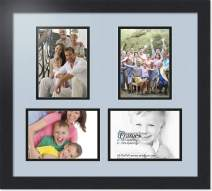 ArtToFrames Collage Photo Frame Double Mat with 4-5x7 Openings with Satin Black Frame and Baby Blue mat.