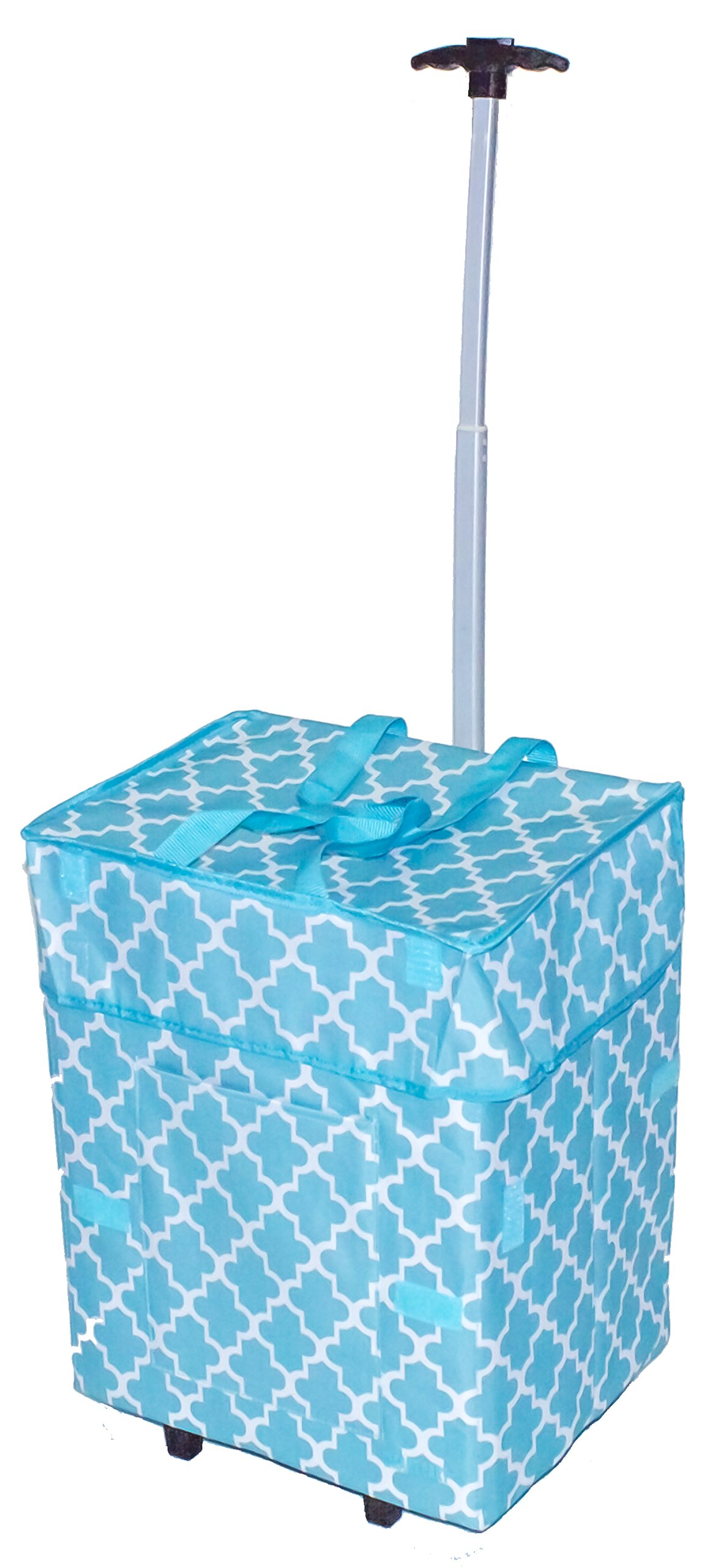 dbest products Bigger Smart Cart, Moroccan Tile Collapsible Rolling Utility Cart Basket Grocery Shopping Teacher Hobby Craft Art