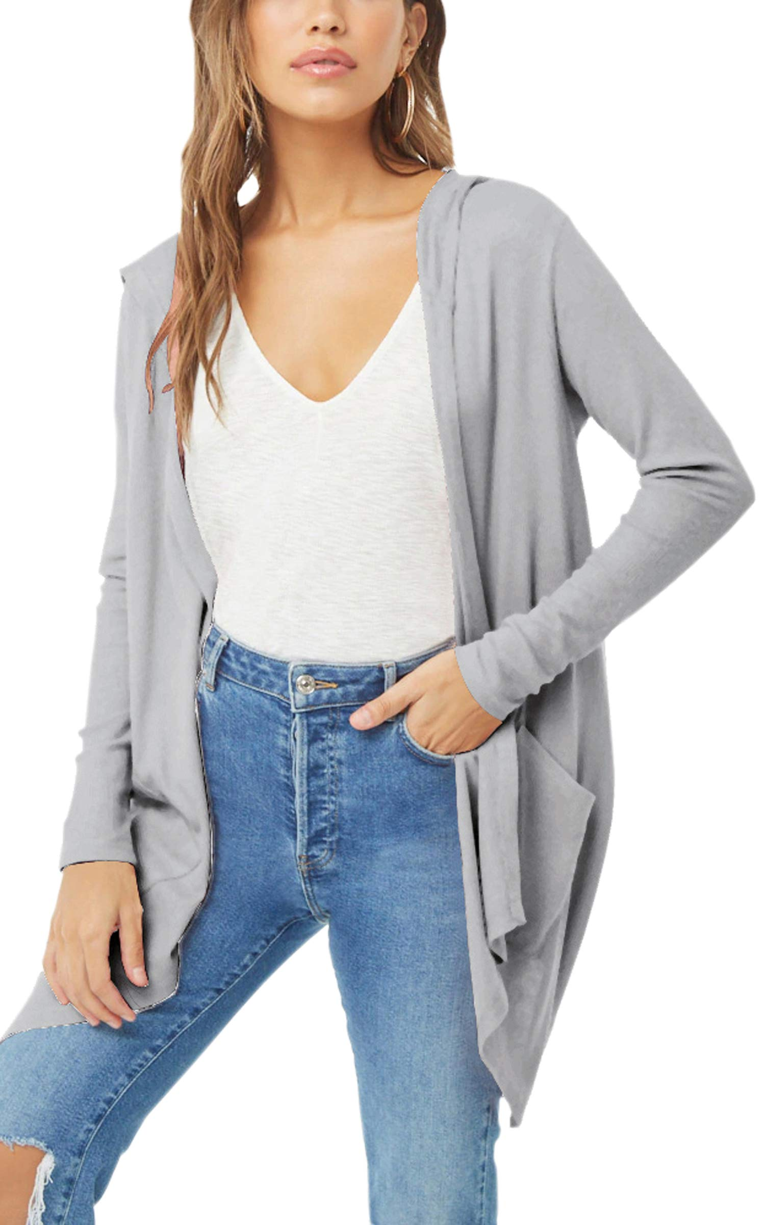 Hibluco Women's Casual Irregular Open Front Cardigans with Hoodie and Pockets