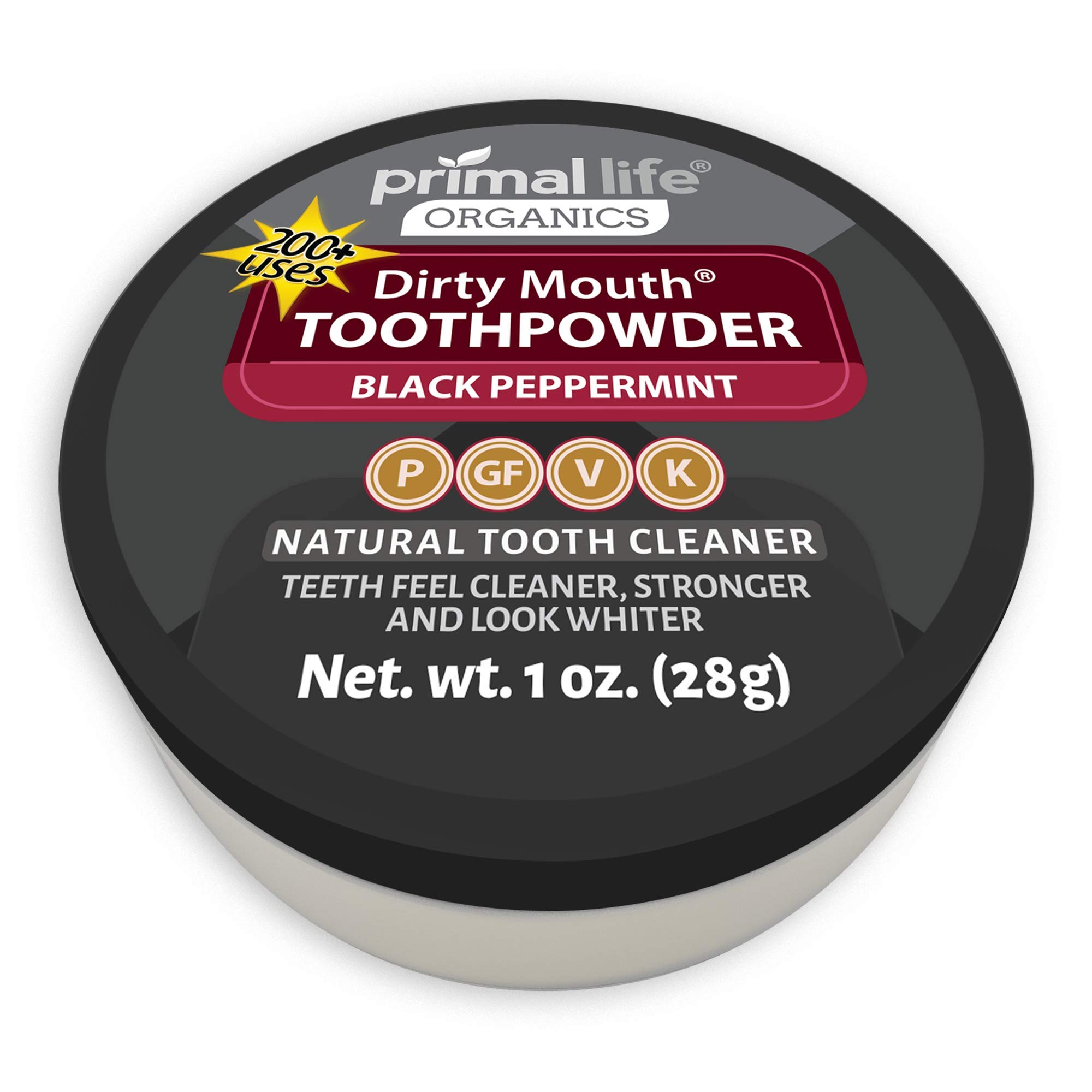Primal Life Organics | Dirty Mouth Activated Charcoal Tooth Powder | Gently Polishes, Whitens, Re-Mineralizes, Strengthens Teeth | 1 Ounce (3 Month Supply) | Black Peppermint