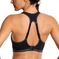 SYROKAN Women's Running Bra Racerback High Impact Sports Bra Wirefree Quick Dry Max Support