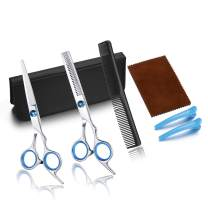 CCbeauty Professional Haircut Hairdressing Scissors Barber/Salon/Home Thinning Texturizing Shears Set Hair Cutting Kit Women Men with Comb and Case