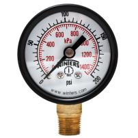 "Winters PEM Series Steel Dual Scale Economy Pressure Gauge, 0-200 psi/kpa, 1-1/2"" Dial Display, +/-3-2-3% Accuracy, 1/8"" NPT Bottom Mount"