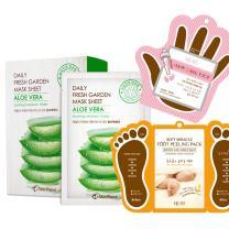 The Elixir Korean Beauty Cosmetic Skin Planet Fresh Garden Tencel Aloe Vera Face Mask Sheet with Hand, Foot Peeling Mask Pack, Total 13 Packs (10-Face, 2-Hand,1-Foot Peeling)