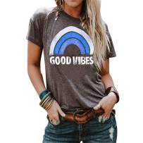Bemawe Womens Long Sleeve and Sleeveless Good Vibes T Shirt Vintage Graphic Tee Shirts Rainbow Print Tank Tops Tunics