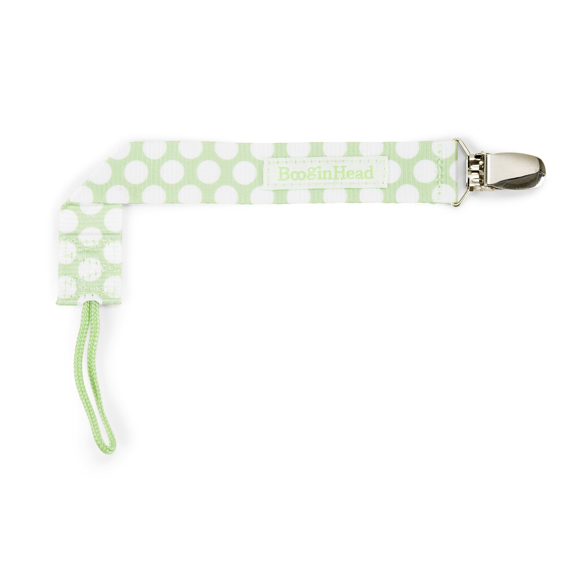 BooginHead Baby Newborn PaciGrip Pacifier Clip, Delicate Dot Polka Dots, Green/White
