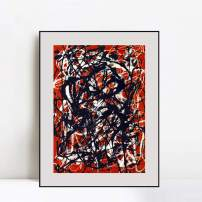 """INVIN ART Framed Canvas Art Free Form by Jackson Pollock Abstract Wall Art Living Room Home Office Decorations(Aluminum Metal Black Frame with Mat & Glass,24""""x32"""")"""