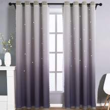 STFLY 2 Panels Star Curtains, Kids Blackout Curtains for Girls Bedroom Double Layer Tulle Overlay Ombre Drapes Sparkle Star Cutout Room Darkening Curtains, Grommet Top, 42W x 84L, Gradient Grey