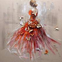 Diamond Painting Kits for Adults Kids, 5D DIY Red Dress Girl Diamond Art Accessories with Round Full Drill for Home Wall Decor - 11.8×11.8Inches