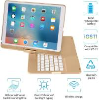 IEGROW iPad Keyboard Case for iPad Pro 10.5 (2017) - iPad Air 10.5 (3rd Generation 2019) - 360 Degree Rotatation - 7 Color Backlits - Smart Folio Case with Keyboard (Gold)