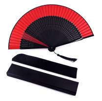 Amajiji Black Blank Silk Bamboo Folding Fans, Chinese/Japanese Classical Simplicity Style Silk Fans for DIY Decoration Wedding Party Dance Easter Gift Props Kimono (Black and Red)